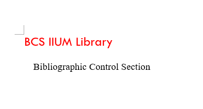 Library :: Bibliographic Control Section